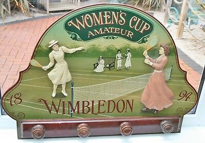 "Vintage Wooden ""WIMBLDEDON Women's Cup 1894"" 3D Advertising Sign with Coat Hooks"