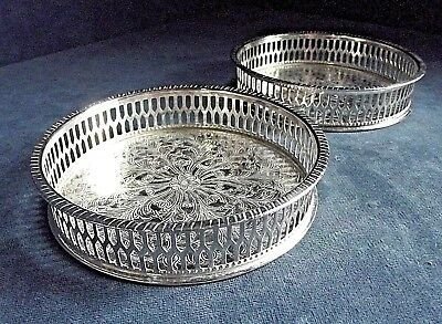 Superb PAIR ~ GEORGIAN Style ~ SILVER Plated ~ BOTTLE Coasters by Viners