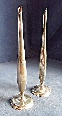 "Good PAIR 8"" ~ WMF ~ SILVER Plated ~ Bud VASES ~ c1960"