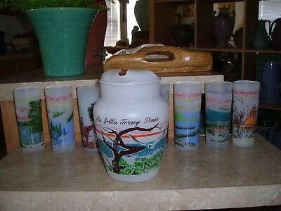 """Vintage And Rare Blakely """"California Series"""" Frosted Pitcher and 8 Glasses"""