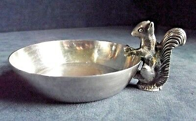 SUPERB ~ SILVER Plated ~ Cast SQUIRREL ~ NUT BOWL ~ c1960