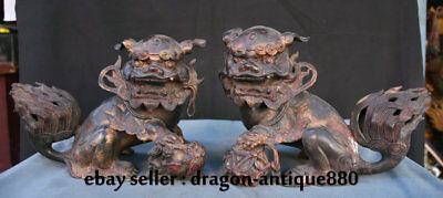 "9.6"" Old Chinese Purple Bronze Palace Feng Shui Foo Dog Ball Sculpture Pair"