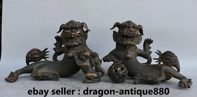 "9"" Folk Chinese Bronze Feng Shui Foo Fu Dog Guardion Lion Ball Son Statue Pair"