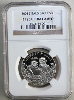 2008 S Bald Eagle Half Dollar Proof Commemorative Coin NGC PF70 Certified  K