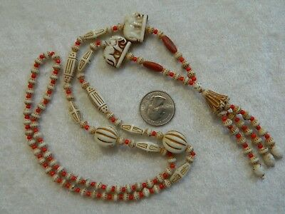 Vintage Czech Art Deco Egyptian Revival Elephant Glass Bead Necklace Max Neiger