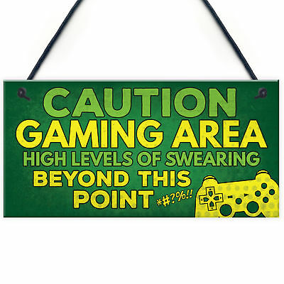 Caution Gaming Area Gamer Gift For Son Brother Man Cave Bedroom Door Sign Decor