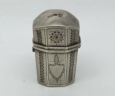 Georgian Sterling Silver Cased Glass Scent Bottle Flask 1823