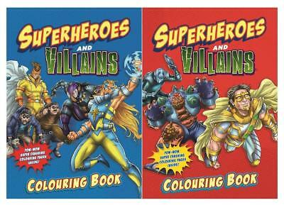Set of 2 Superheros and Villains Colouring Books Colouring Activity Superhero UK