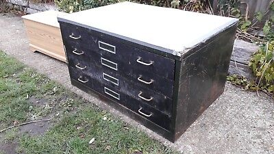 Large map/architect/engineer plans chest - 4 drawers - metal