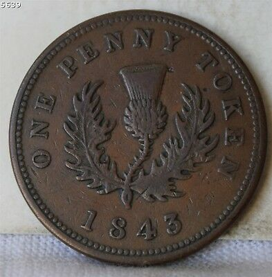 """1843 Nova Scotia Canada One Penny Token """"VF+"""" *Free S/H After 1st Item*"""