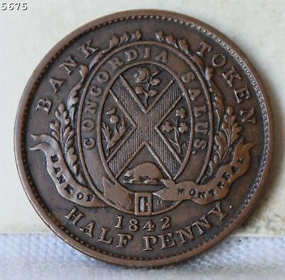 """1842 Bank of Montreal Prov. Canada Half Penny Token """"XF+"""" Free S/H After 1stItem"""