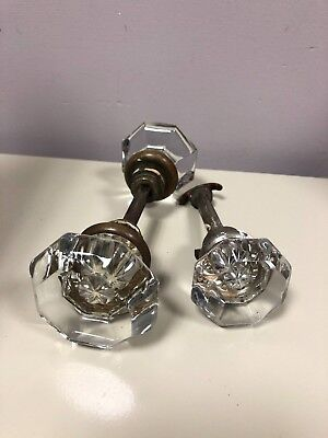 2 Vintage Crystal Glass Door Knob Set & Closet Glass Door Knob