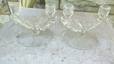 Antique Art Deco Glass Candlestick Holders-Pair-Each Holds 2 Candles-Clear Glass