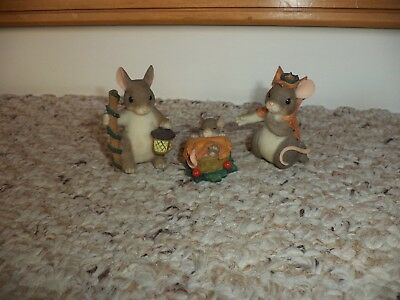 Charming Tails By Fitz And Floyd Holy Family Players Nativity 3 Pc. Set In Box