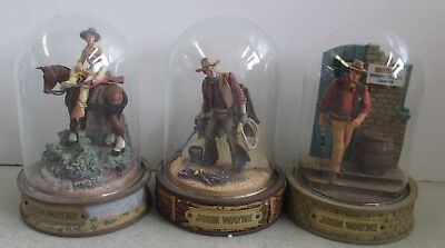 Set Of 3 Franklin Mint John Wayne Limited Edition Hand Painted Figures W/ Domes