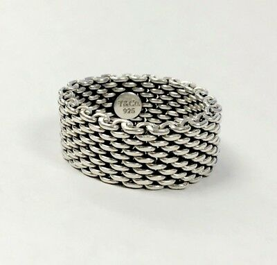 TIFFANY & CO. Sterling Silver 925 Genuine Mesh Design Ring Band Size 9.0, 10mm