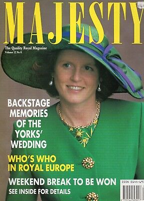 Majesty Magazine - August 1991 - Duchess Of York  On Front Cover