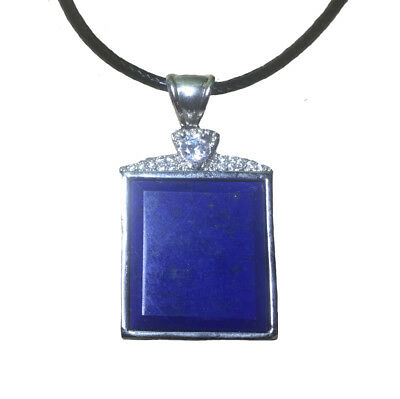 Handmade Natural Lapis Lazuli Gemstone Sterling Silver Pendant Necklace Jewelry