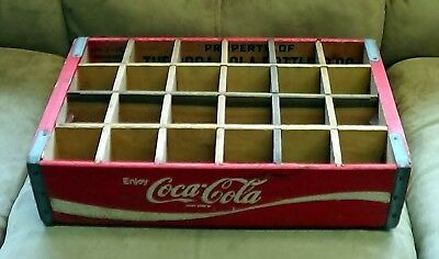 Vintage 1975 Red 24 Bottle Coca-Cola Coke Soda Wooden Carry Crate