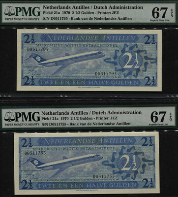 "TT PK 21a 1970 NETHERLANDS ANTILLES 2 1/2 GULDEN ""JETLINER"" PMG 67 EPQ GEM SET!"