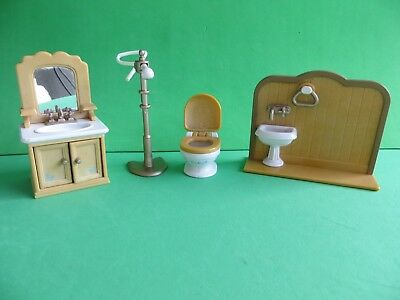 Sylvanian Families - Bathroom Furniture set - sink toilet shower wash basin