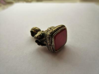 LARGE ANTIQUE VICTORIAN GOLD GILDED ORNATE FOB with CARNELIAN SEAL!