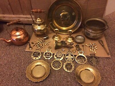 Large Job Lot Of Brass And Copper  Metal Tea Pots Plates Candlesticks An More
