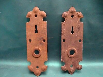Antique Matching Victorian Steel Door Lock Plates / Backing Plates Gothic Look