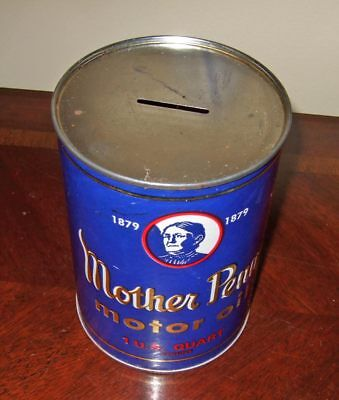 Vintage Mother Penn Motor Oil metal can bank~1 quart~exc.cond.