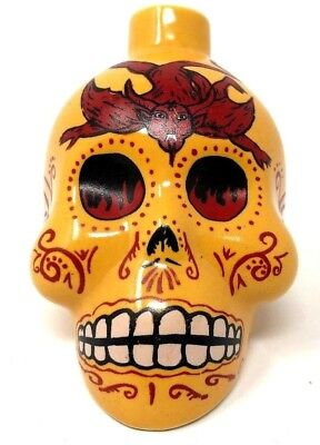 Kah Tequila Yellow Red Day of The Dead Glass Skull Decanter Bottle 50ml Muertos
