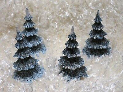 Lot of (4) Plastic and Mica West German Trees - Blue