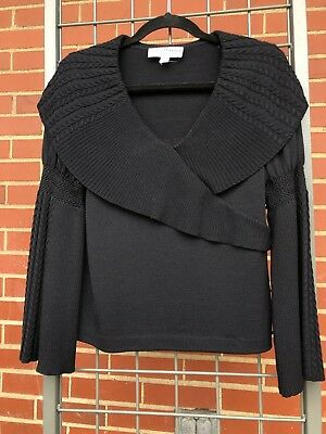 St. John Collection by Marie Gray black Criss cross sweater Size 4