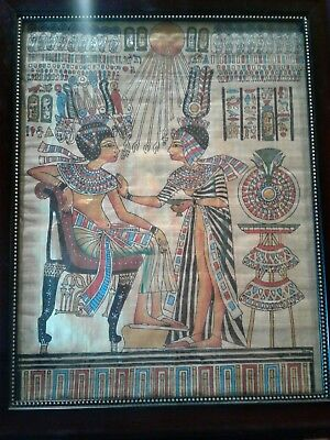 Ancient Egyptian Original Painting on Cyprus Papyrus-King Tutankhamun Throne Art