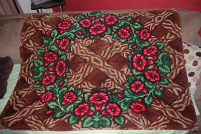 Victorian Stroock Mohair Horsehair Sleigh Carriage Buggy Lap Blanket! Red Floral