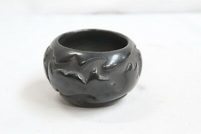 Santa Clara Pueblo Black Carved Flame Smoke Cutout Pottery Bowl Eckleberry