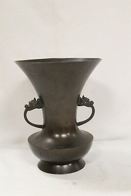 Vintage Chinese Dragon Heads Double Handled HUGE Flared Corset Bronze Vase