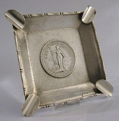 ASH TRAY SOLID SILVER CHINESE EXPORT COIN ASHTRAY DISH c1911 ANTIQUE