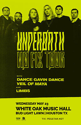 Underoath /dance Gavin Dance/veil Of Maya/limbs 2018 Houston Concert Tour Poster