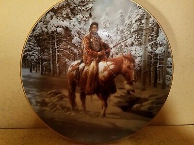 """Hamilton Collection 1992 Mystic Warriors Indian Plate - """"Man Who Walks Alone"""""""
