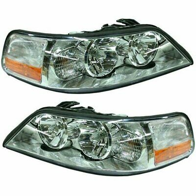 Halogen Headlight Set For 2003 2004 Lincoln Town Car Left Right W Bulbs