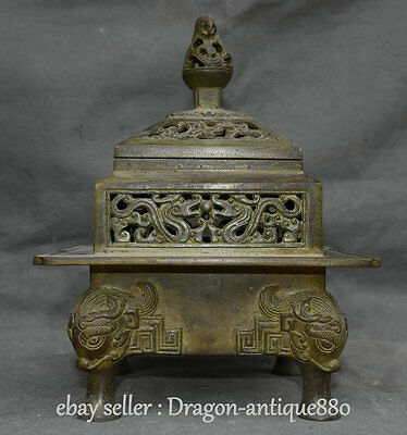 "10"" Marked Old Chinese Purple Bronze Dynasty Beast 4 Foot Incense Burner Censer"