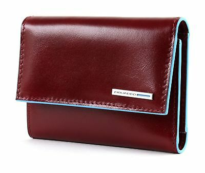 PIQUADRO Blue Square Wallet With Flap Geldbörse Rosso Rot Neu