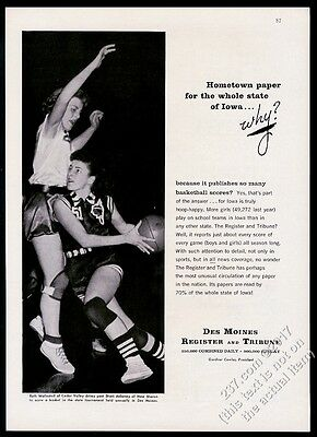 1958 Iowa high school girls basketball player photo Des Moines Register print ad