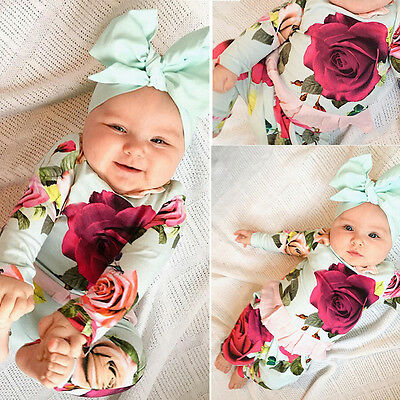 US STOCK Cute Newborn Kid Baby Girl Tops Romper Floral Pants Outfits Set Clothes