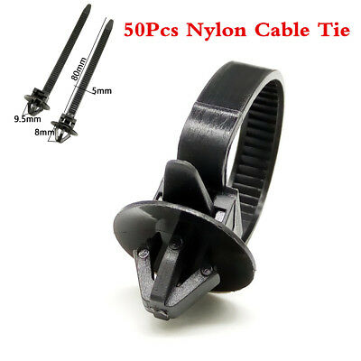Universal 50Pcs Car Nylon Cable Tie Fastener Clips Loom Hose Clamp Fastening Kit