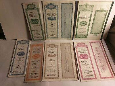 Vintage School Building Bonds Large Lot of 8 diff Bonds Illinois Michigan