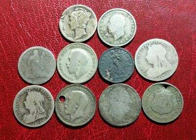 LOT Of 10 SCRAP SILVER OLD VINTAGE WORLDWIDE WORLD FOREIGN COINS  MIX EUROPE US