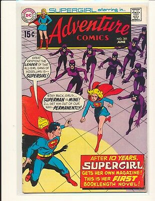 Adventure Comics # 381 1st solo Supergirl story G/VG Cond bottom staple detached