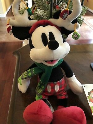 Disney World 2018 Christmas Mickey with Reindeer Ears Plush Brand New