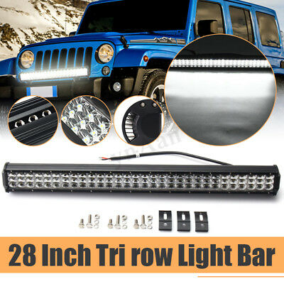 28 Inch 1000W Tri-Row LED Work Light Bar Driving Fog Combo Lamp SUV Offroad